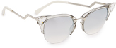 Fendi Iridia Crystal Corner Mirrored Sunglasses