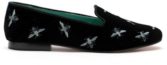 Blue Bird Shoes Embroidered Bee Motif Velvet Loafers