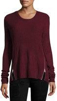 Sweet Romeo Zip-Detail Ribbed Sweater, Bordeaux