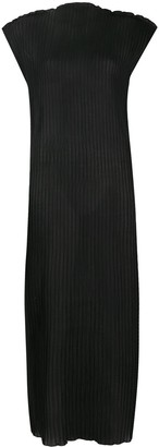 Jil Sander Ribbed Ruffle Detail Dress