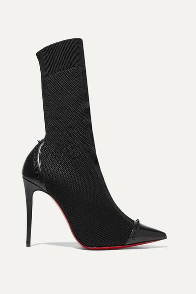 Christian Louboutin Dovi Dova 100 Studded Leather-trimmed Stretch-knit Sock Boots - Black