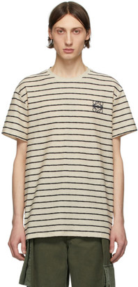 Loewe Off-White and Navy Striped Anagram T-Shirt