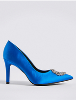 M&S Collection Stiletto Heel Trim Pointed Court Shoes