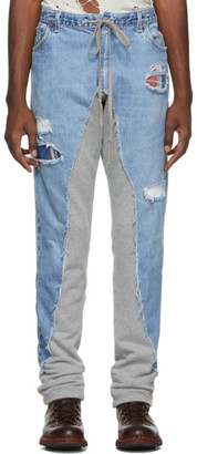 Greg Lauren Blue and Grey 50/50 Denim/Terry Jeans
