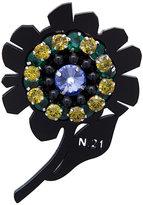No.21 flower embellished brooch