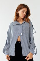 brand Haute Rogue Haute Rogue Cut-Out Striped Shirt
