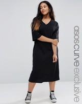 Asos Kimono V Neck Sleeve T-Shirt Midi Dress