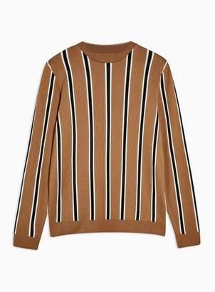 Topman Mens Brown Camel Vertical Stripe Sweater