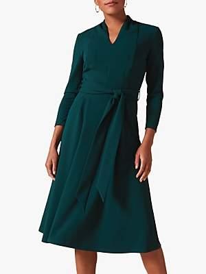 Phase Eight Maretta Pleat Tie Waist Dress, Galactic Green