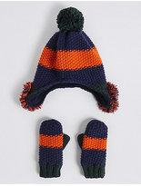 Marks and Spencer Kids' Novelty Pom-pom Trapper Hat & Mittens