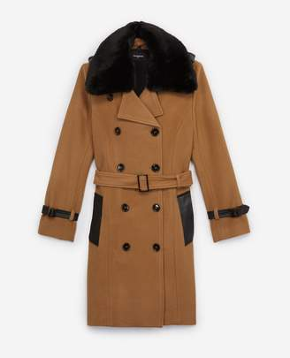 The Kooples Camel trench style long wool coat