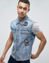 Jack & Jones Intelligence Sleeveless Denim Jacket With Back Embroidery