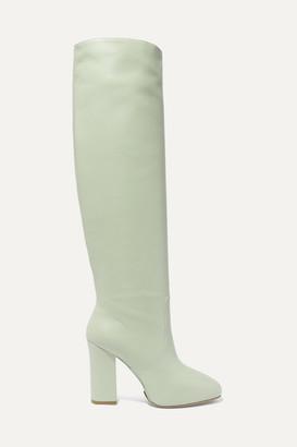 Dries Van Noten Leather Knee Boots - Mint