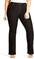 City Chic Plus Size Women's Contrast Stitch Stretch Denim Bootleg Jeans