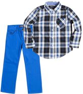 Chaps Toddler Boy Woven Plaid Button-Down Shirt & Pants Set