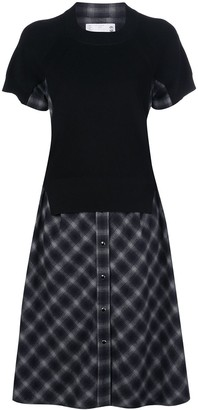 Sacai Flared Checked Shirt Dress