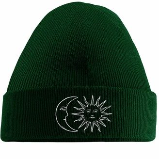 Hippowarehouse Moon and Sun Embroidered Beanie Hat Bottle Green