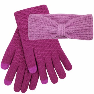 Teddyts Women's Purple Thermal Knitted Chunky Headband & Touchscreen Gloves Set