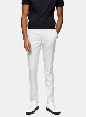Topman Grey Stretch Skinny Trousers