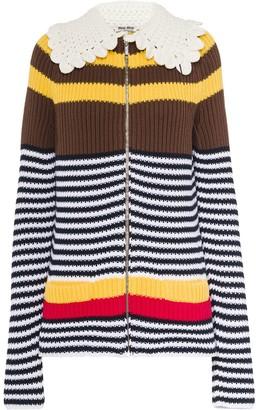 Miu Miu Striped Zip-Up Cardigan