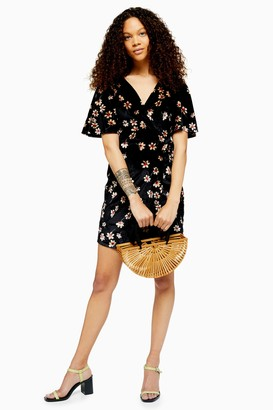 Topshop Womens Petite Black Velvet Wrap Skater Dress - Black
