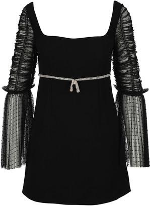 Self-Portrait Dot Mesh Diamante Bow Mini Dress