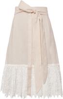 Miguelina Carlene Linen Lace Midi Skirt