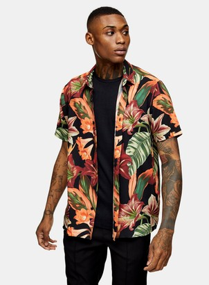 Topman Black Floral Print Slim Shirt