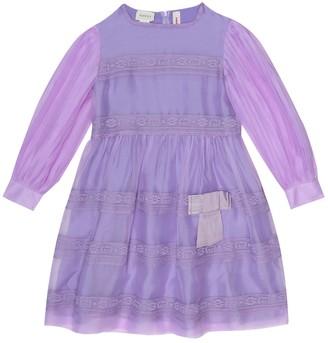 Gucci Kids Lace-trimmed silk-organza dress