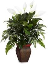Bed Bath & Beyond Nearly Natural Mixed Greens w/ Spathyfillum and Decorative Vase Silk Plant