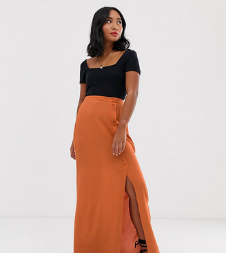 Asos DESIGN Petite crinkle maxi skirt with self covered buttons