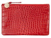 Clare Vivier Croc Embossed Leather Wallet Clutch - Red