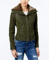 Joujou Jou Jou Juniors' Faux-Fur Collar Faux-Leather Jacket