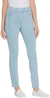 Martha Stewart Petite Knit Denim Ankle Jeans w/ Seam Detail
