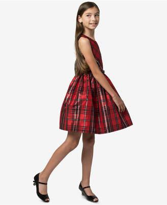 Bonnie Jean Big Girls Belted Plaid Taffeta Dress