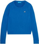 MiH Jeans Embroidered Slub Cotton-jersey Sweatshirt - Royal blue