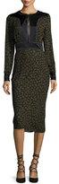 Veronica Beard Drifter Long-Sleeve Silk Animal-Print Midi Dress, Green