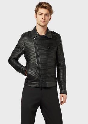 Emporio Armani Blouson In Pleated Lambskin Nappa Leather
