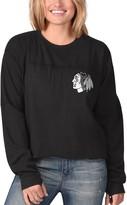 G Iii Women's G-III 4Her by Carl Banks Black Chicago Blackhawks Flight Song Crop Long Sleeve T-Shirt
