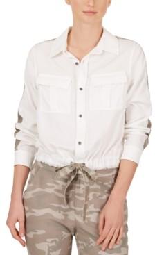 Adyson Parker Camo-Stripe Drawstring-Hem Shirt