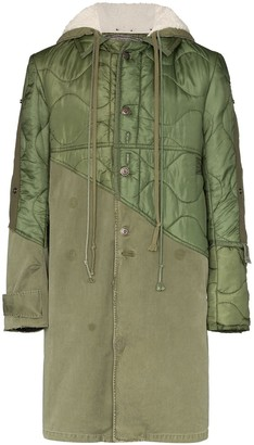 Greg Lauren Panelled Hooded Coat