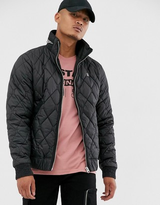 G Star G-Star Meefic quilted jacket with zip detail collar in black