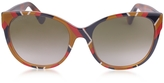 Gucci GG0097S 004 Chevron Acetate Cat Eye Women's Sunglasses