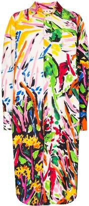 Marni Paint-Print Cotton Shirt Dress