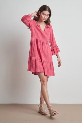 Velvet by Graham & Spencer Aurora Woven Linen Tiered Dress