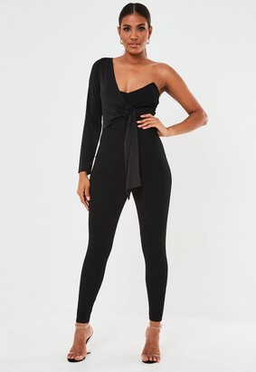 Missguided Black Drape Belted One Shoulder Romper