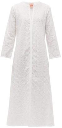 Le Sirenuse Le Sirenuse, Positano - Vanessa Front Slit Embroidered Cotton Kaftan - Womens - White