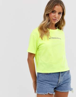New Look no photos boxy slogan crop tee in neon green