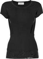 adidas by Stella McCartney Mesh-paneled stretch-jersey T-shirt