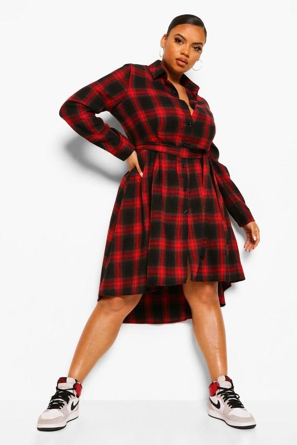 boohoo Plus Check Wrap Belted Shirt Dip Hem Midi Dress